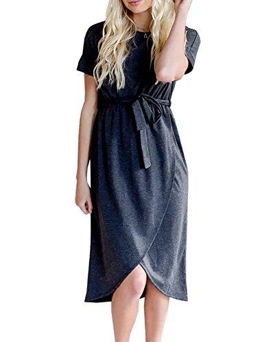 Kunlunmen Womens Empire Waist Faux Wrap Slit Sweater Midi Dress with Belt