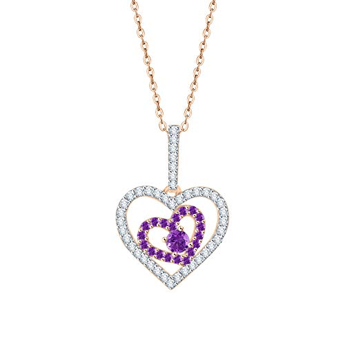(KATARINA Prong Set Diamond and Amethyst Double Heart Pendant Necklace in 14K Rose Gold (5/8 cttw, I-J, I1-I2))
