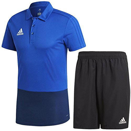 率直なスリンクロイヤリティアディダス(adidas) CONDIVO18 ポロシャツ & ウーブンショーツ上下セット(ボールドブルー/ブラック) DJV22-CF3700-DJV27-CF4313