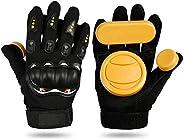 Bopfimer DIY Longboard Slide Gloves Skateboard Gloves Foam Protector Downhill Longboarding Skate Gloves with S