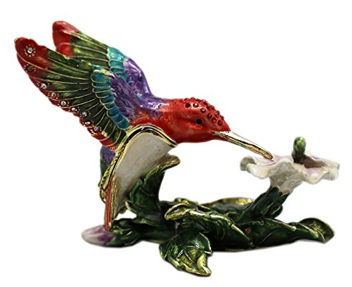 Vibrant Colored Hummingbird Sipping Nectar Enameled Keepsake Box Figure