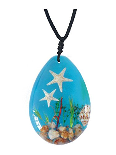 WGI Real Starfish, Seashells and Underwater Plant Life on Blue Background Necklace