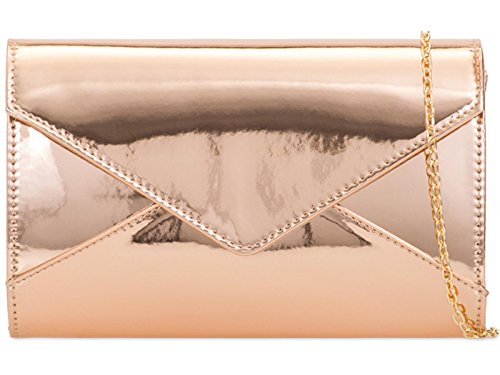 Patent Clutch Evening Bag Ladies Hand Champagne Prom Party Purse Wedding Plain Shinny ZES 0xvETT