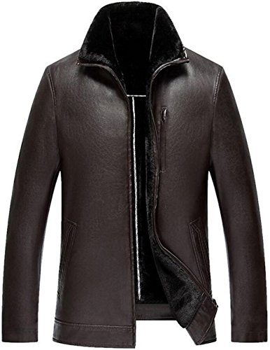 Leather Winter 602 Fur Fur Warm Thick Jacket Coat Winter Leisure JEWOSOR Outerwear Fit Bronw Leather Men InW85ZqR