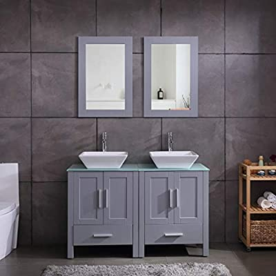 "48"" Double Sink Bathroom Vanity Cabinet Combo Glass Top Grey Paint MDF Wood w/Faucet, Mirror&Drain Set - Main cabinet size: 18.4*24*30 inch (L×W× H). Sink size: 16.5 in*5.5 in(L×W× H), Sink thickness:0.5 inch. Faucet height:12 inch Environmental-friendly MDF wood material cabinet with oil paint on it, durable, stable and water-proof. 1.5 GPM faucet help you save much water, prevent water splashing. - bathroom-vanities, bathroom-fixtures-hardware, bathroom - 41 daaq04bL. SS400  -"
