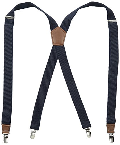 (Dockers Pants Suspenders for Men - Heavy Duty Clips and X Back Adjustable Straps for Adults,Textured Navy,One sizee )