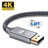 DisplayPort Cable,Capshi 4K DP Cable Nylon Braided -(4K@60Hz, 1440p@144Hz) Ultra High Speed DisplayPort to DisplayPort Cable 6.6ft Laptop PC TV etc- Gaming Monitor Cable (Grey)