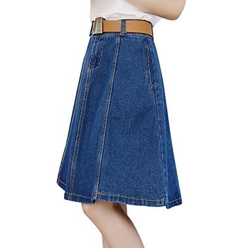 85c2aad4fe free shipping Tanming Women s Knee Length A-Line Midi Denim Jean Skirt
