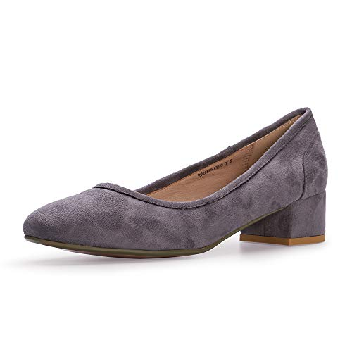 IDIFU Women's RO2 Fashion Chunky-LO Closed Square Toe Low Chunky Block Heel Slip on Pumps Shoes (9 M US, Gray Suede) - Gray Suede Pumps