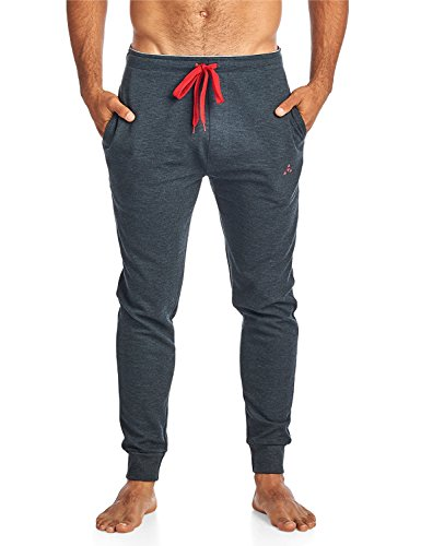 Balanced Tech Men's Jersey Knit Jogger Lounge Pants - Ottoman Ribbed Charcoal - X-Large