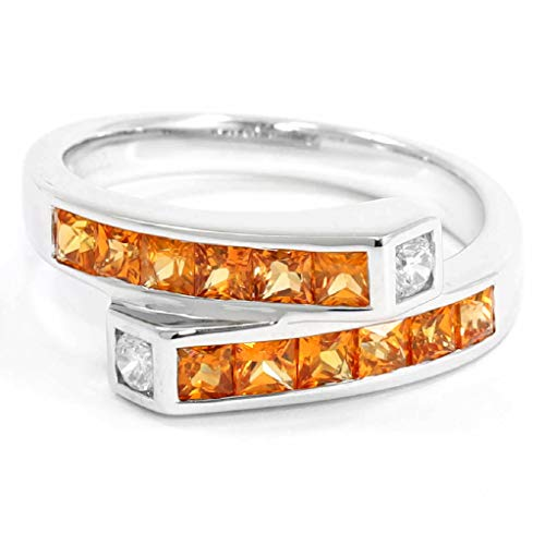 TIAMO Classic Elegant Ring Genuine Natural Yellow Sapphire 1.38.cts. Silver Rhodium Plated Nickel-Free Women Size 4 to 14 ()