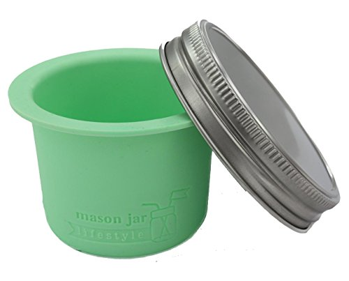 Divider Cup for Wide Mouth Mason Jars - For Salads, Dips, and Snacks (Mint Green)