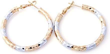 Followmoon 18K Gold Plated Two-Tone Women's Hoop Earrings
