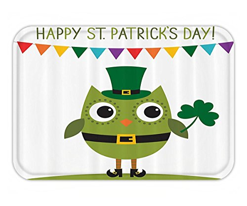 Beshowere Doormat Day Owl with Leprechaun Costume Greeting Design for Party Shamrock Fabric Bathroom Decor Set with Hook Long White and Olive Green.jpg