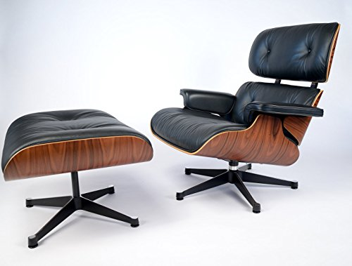 Mid Century Modern Classic Plywood Design Replica Style Palisander With Premium High Grade Black PU Leather Lounge Chair & Ottoman (1960 Style Outdoor Furniture)