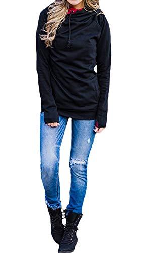 Mode Capuche Shirts Longues Casual Fashion Automne Sweats et Simple Pullover Sweat Printemps Jumpers Femmes Manches Tops Noir Hauts Pulls Blouse Slim YqUfn7w