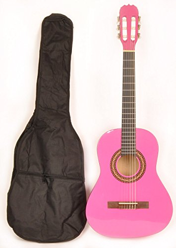 Price comparison product image Omega Class Kit 3 / 4 MPN Pink Left Handed 3 / 4 Size Acoustic Guitar w / Free Carry Bag