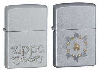 Zippo Lighter Set - Scroll Name and Ring of Fire Satin Chrome Pack of 2 Zippo Chrome Ring