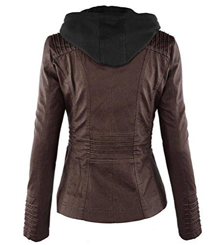simili capuche Femme en Fermeture a cuir Manteau Veste NiSeng qf4FTT