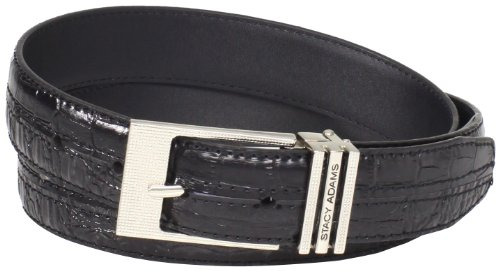 Stacy Adams Men's 30mm Hornback And Croco Embossed Belt, Black, (Stacy Adams Embossed Belt)