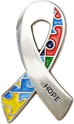 ユニセックス アウェアネスリボン HOPE 【自閉症:シルバー、レインボー、パズルリボン】 ブローチ ラペルピン バッジ