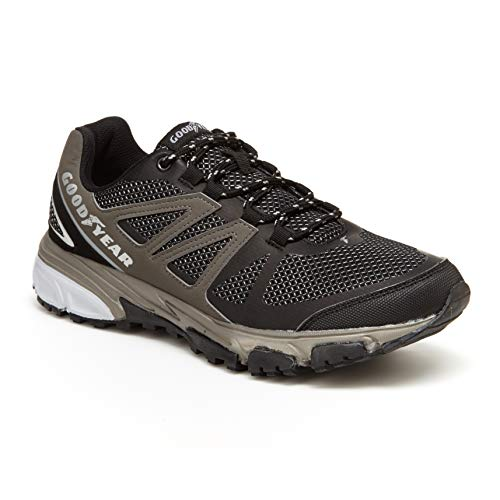 (Goodyear Low Top Men's Hiking Boots, Hiking Shoes for Men Black/Silver)