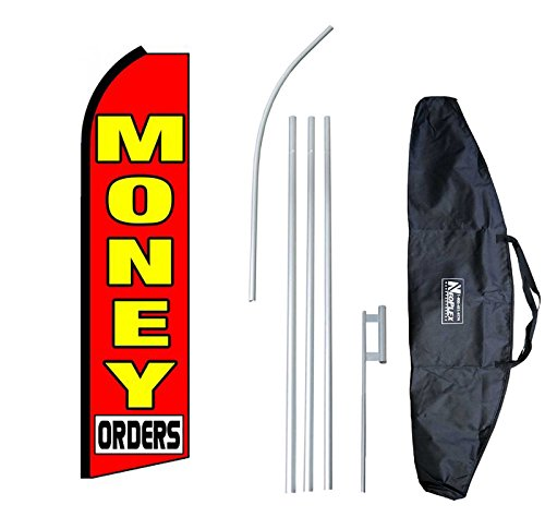''Money Orders '' 12-foot Swooper Feather Flag and Case Complete Set...includes 12-foot Flag, 15-foot Pole, Ground Spike, and Carrying/Storage Case by NEOPlex