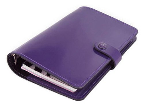 Filofax The Original Leather Organizer, Patent Purple, A5 (8.25 x 5.75) Any Year Planner with to do and Contacts Refills, Indexes and notepaper (C022433)