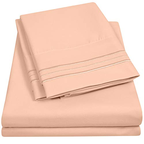 1500 Supreme Collection Extra Soft King Sheet Set, Peach - Luxury Bed Sheet Set with Deep Pocket Wrinkle Free Hypoallergenic Bed Sheets, King Size, Peach