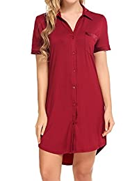 Avidlove Boyfriend Sexy Sleep Shirt Short Sleeve Cotton Sleepwear For Women