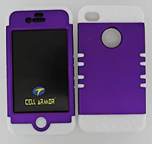 SHOCKPROOF HYBRID CELL PHONE COVER PROTECTOR FACEPLATE HARD CASE AND WHITE SKIN WITH MINI STYLUS PEN. KOOL KASE ROCKER FOR APPLE IPHONE 4 4S PURPLE WH-A008-DP
