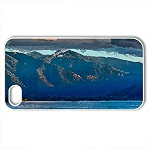 lovely mountain lakescape - Case Cover for iPhone 4 and 4s (Lakes Series, Watercolor style, White)