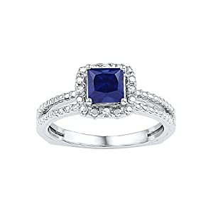 Size - 4.5 - Solid 925 Sterling Silver Princess Cut Round Blue Simulated Sapphire And White Diamond Engagement Ring OR Fashion Band Prong Set Solitaire Shaped Halo Ring (.03 cttw)