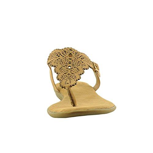 Bamboe Toendra 54s Dames Geschulpte & Geperforeerde T-strap Sandaalbruin