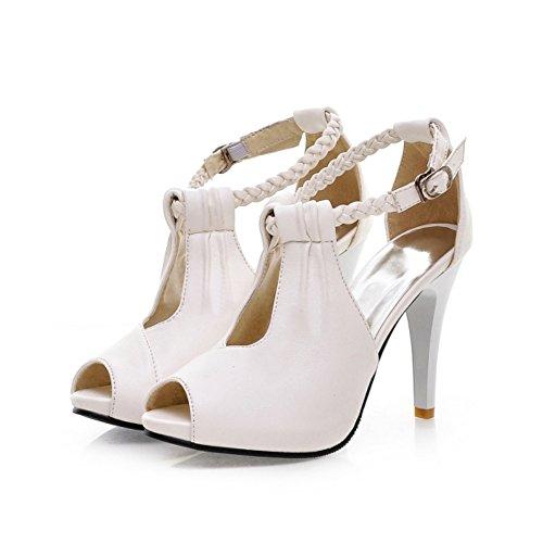 happymall Womens Elegant Dress Peep Toe High Heeled Pump Weaving Ankle Strap Stiletto Sandal White