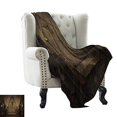 LsWOW Muslin Blanket Gothic,Fantasy Scene with Old Fashioned Wooden Torch and Skull Candlesticks in Dark Spooky Room,Brown Warm Blanket for Autumn Winter 70