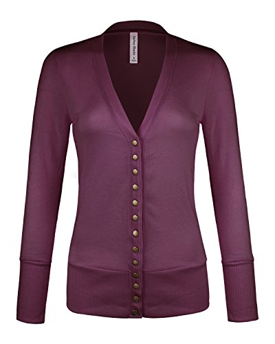 Womens Women's V-Neck Button Down Knitwear Long Sleeve Soft Basic Knit Snap Cardigan (C45611 Plum, (Ladies Fitted Snap)