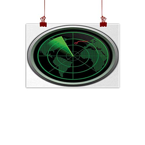 Artwork Office Home Decoration Airplane,Military Radar Screen Global Defense Danger Detecter Scanner Signal System Print,Green Black 24