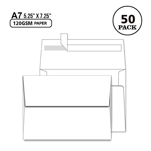 A7 White Envelopes 5X7 50 Pack - Quick Self Seal,Square Flap¡ê?for 5x7 Cards| Perfect for Weddings, Invitations, Photos, Graduation, Baby Shower, Stationery for General, Office | 5.25 x 7.25 inches ()