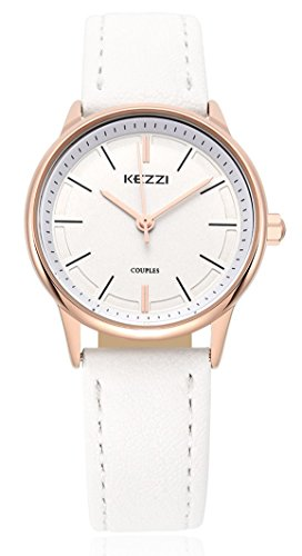 Wutan Women's Watch Stainless Steel Case White Leather Band Sports Watches Analog Quartz Casual Classic Fasion Ladies Dress Wristwatches - Leather Ladies Dress Watch