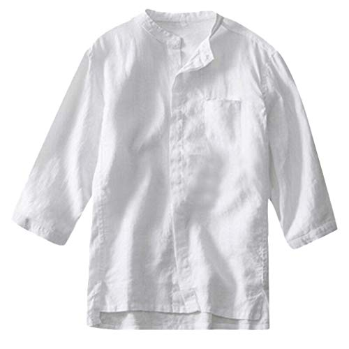 Cotton Linen Shirt for Men, Huazi2 Button Down Half Sleeve Muscle Tops Blouse White