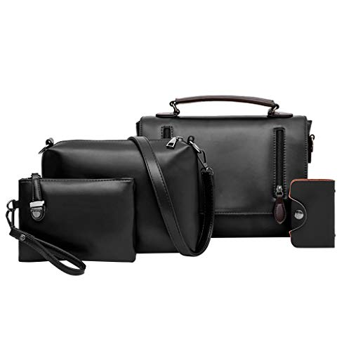 Shusuen Women Fashion Synthetic Leather Handbags+Shoulder Bag+Purse+Card Holder 4pcs Set Tote Black ()