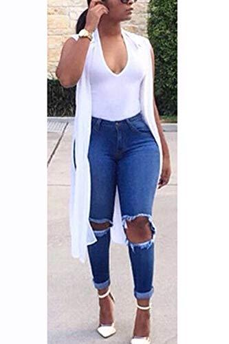 Donne Pantaloni Elasticizzati Zojuyozio Jeans Alle Strappati Blu Skinny In Caviglia xIxY7