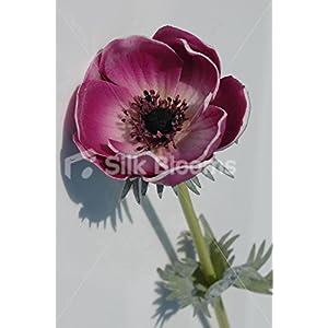 Single Artificial Fresh Touch Plum Anemone, Silk Purple Poppy 17