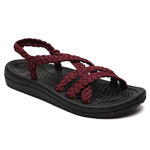 (MEGNYA Women's Comfortable Flat Walking Sandals with Arch Support Waterproof for Walking/Hiking/Travel/Wedding/Water Spot/Beach.18ZDKDME01-W8-5 BD Bordeaux)