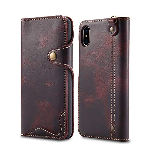 iPhone XS Max Case,Bpowe Ultra Slim Genuine Leather Case Cover with Card Holder Strap Attachment Magnet snap Type Full Protection Shockproof Case for Apple iPhone XS Max 6.5inch 2018 (Wine red)