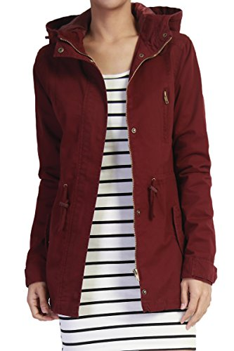 TheMogan Women's Washed Twill Hooded Utility Anorak Jacket Burgundy M (Twill Jacket Casual Cotton)