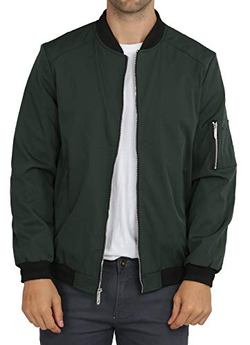 WULFUL Mens Casual Lightweight Jacket Softshell Flight Bomber Jacket Varsity Coat Green