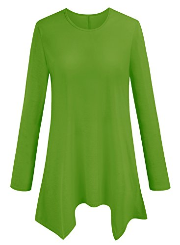 Women Long Sleeve Tunic Top Loose Fit Flare T Shirt Large-US/XLarge Asian, Apple ()