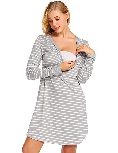 Ekouaer Women's Long Sleeve Nursing Dress Striped Maternity Dress for Breastfeeding S-XXL Grey